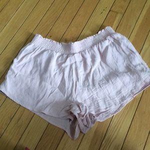 Light pink elastic shorts